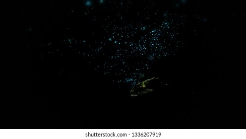 Glowing Worms in Waitomo Caves, long exposure, New Zealand