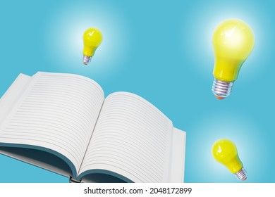 Glowing yellow light bulb with open white notebook on light blue background , innovation and ideation concept