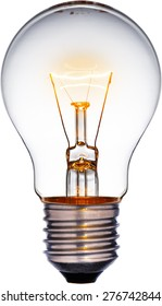 Glowing yellow light bulb, Realistic photo image turn on tungsten light bulb with a white background and a clipping path