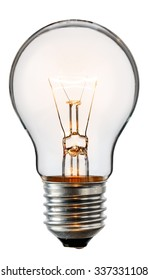 Glowing yellow light bulb, realistic photo image of a turned on tungsten light bulb isolated on a white background and with a clipping path