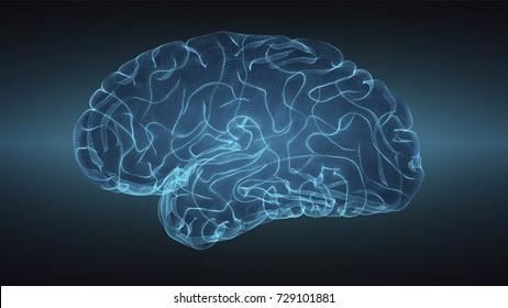Glowng brain over graduated dark background