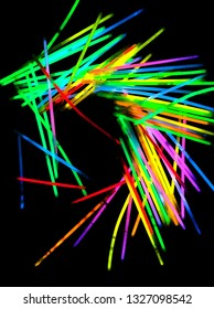 glowsticks in the dark abstract froms