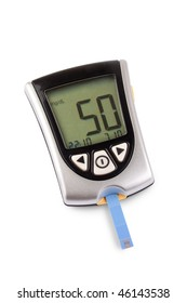 Glucometer isolated with a low result against a white background