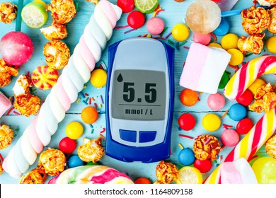 Glucose meter against the background of a mix of multicolored, sweets, lollipops and candies. Unhealthy, sweet, high-calorie food. Sugar diabetes, diabetes concept.