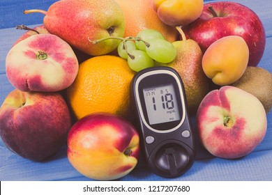 Glucose meter for checking sugar level and fresh healthy nutritious food as source natural vitamins and minerals, diabetes concept