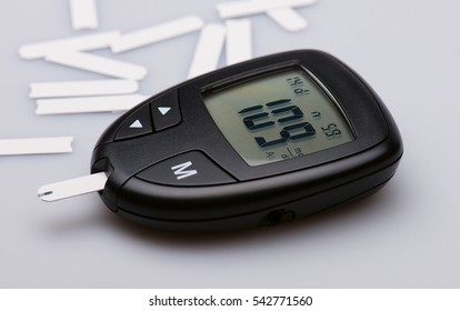 Glucose meter device with digital panel showing sugar in blood