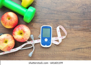 Glucose meter and Diabetes control with exercise concept.
