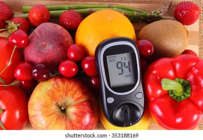 Glucose meter with fresh ripe fruits and vegetables, concept of diabetes, healthy food, nutrition and strengthening immunity