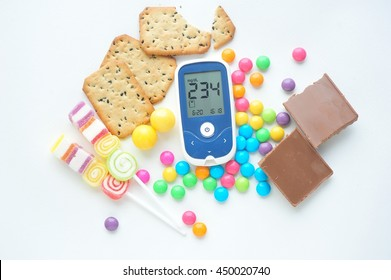 Glucose meter with unhealthy food,diabetes concept.