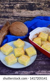Gluten free baked sweet cassava coconut cake, cut in square