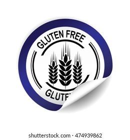 Gluten Free  blue sticker, button, label and sign.