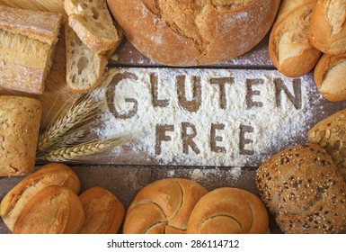 A gluten free breads on wood background