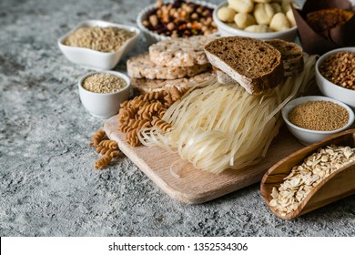 Gluten free diet concept - selection of grains and carbohydrates for people with gluten intolerance, copy space