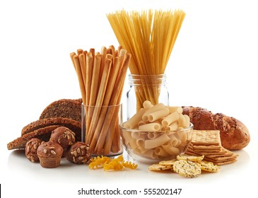 Gluten free food. Various pasta, bread and snacks isolated on white background.