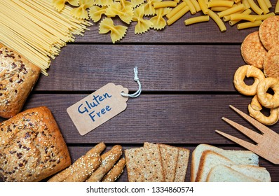 a gluten free foods  on wood background