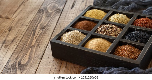 Gluten free grains - buckwheat, black lentils, amaranth, quinoa, hemp seeds, sorghum grain, teff and millet