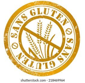 gluten free grunge stamp, in french language