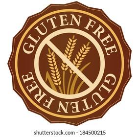gluten free  label or sticker, in english language