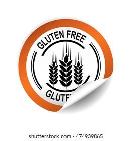 Gluten Free orange sticker, button, label and sign.