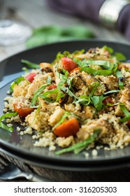 Gluten free salad with grilled chicken breast and quinoa