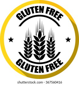Gluten free yellow, Button, label and sign.