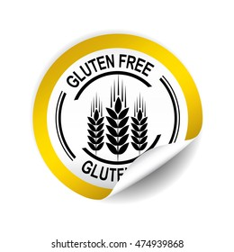 Gluten Free yellow sticker, button, label and sign.