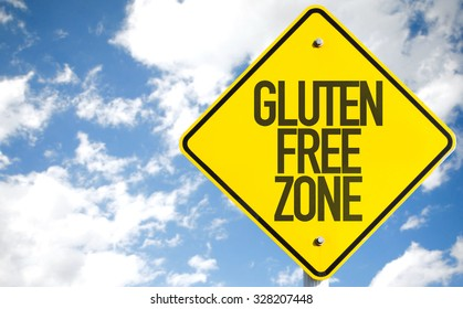 Gluten Free Zone sign with sky background