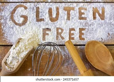 gluten word with wood background