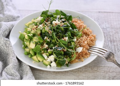 Gluten-free green vegetarian salad made of microgreen sprouts peas, avocado, quinoa, spinach, seasoned  crushed almonds with slices of feta cheese