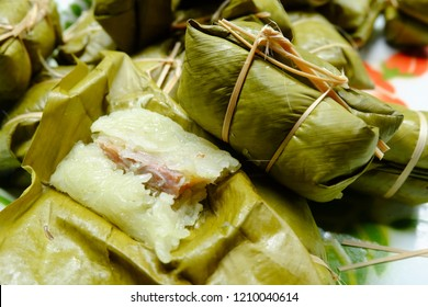 glutinous Bananas with Sticky Rice steamed in banana leaf, image 2