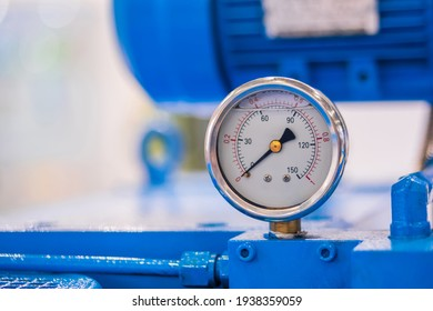 Glycerin pressure gauge for measuring fluid condition at plant, facory - close up. Industrial, electronic, technology equipment concept