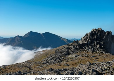 Glyder Fach with Snowdon in the distance. Snowdonia national park, Wales