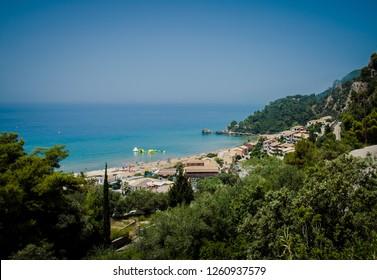 Glyfada beach in Corfu, Greece