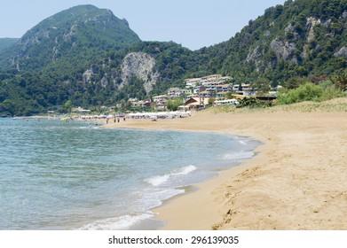 Glyfada Beach at Corfu Greece during the day