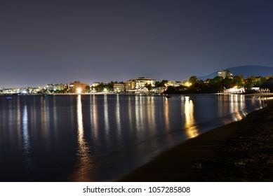 Glyfada Beach at night, Athens, Greece