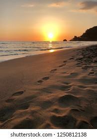 Glyfada beach sunset. Corfu, Greece