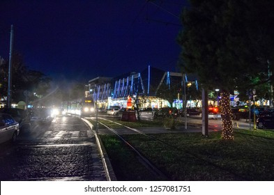 GLYFADA - JANUARY 2016: Christmas scenery in Glyfada, Greece. It is a famous suburb of Athens, situated in the southern parts of the city which is home to many of Greece's, celebrities and ministers
