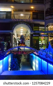 GLYFADA - JANUARY 2016: A large shopping center with Christmas decoration items in Glyfada, athens. Christmas scenery in Glyfada, Greece.