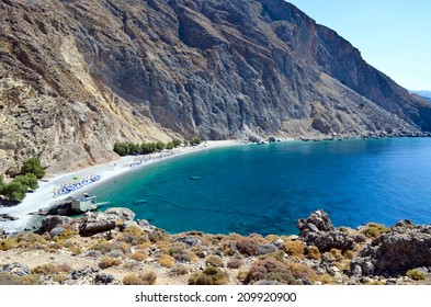 Glyka Nera beach (Sweet Water or Fresh Water). View of the remote and famous Sweet Water Beach in south Crete. This is a nudist beach.