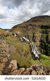 Glymur - tallest waterfall in Iceland. Beautiful mountain river canyon.
