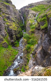 Glymur waterfall during summer in Iceland