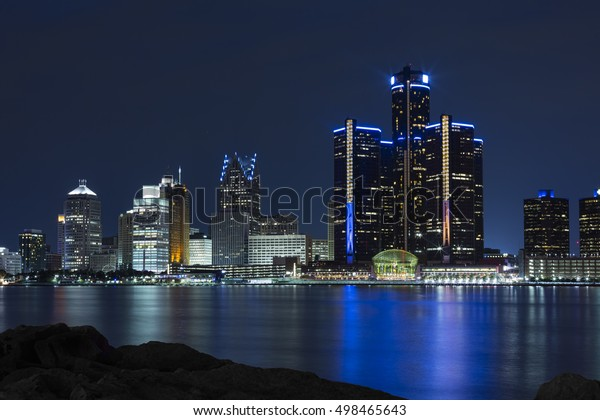 The GM Renaissance Center at twilight taken from across the river in Windsor, Ontario, Canada.