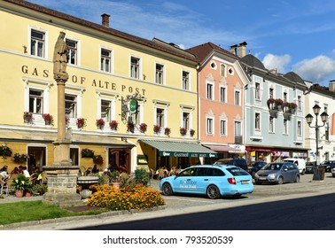 GMUEND IN KAERNTEN/ AUSTRIA - OCTOBER 10, 2017. Historical central street. Gmuend in Kaernten, district of Spittal an der Drau, federal state of Carinthia.
