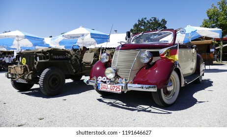 Gmund, Bavaria/Germany - August 12, 2018: Big classic car meeting in Gmund am Tegernsee in Bavaria with many old cars and motorcycles.