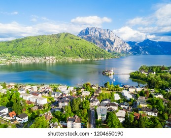 Gmunden Schloss Ort or Schloss Orth on the Traunsee lake aerial panoramic view, Austria. Gmunden Schloss Ort is an Austrian castle founded around 1080 year.