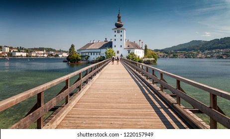 GMUNDEN,AUSTRIA-08.AUGUST 2018: Schloss Ort is an Austrian castle situated in the Traunsee lake, in Gmunden