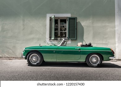 GMUNDEN,AUSTRIA-08.AUGUST,2018: The MGB is a two-door sports car manufactured and marketed by the British Motor Corporation (BMC), later British Leyland