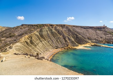 Gnejna, Malta. Magnificent view of the bay and coastal cliffs