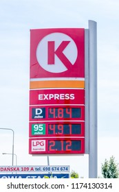 Gniezno, Poland - August 19, 2018: Price is per liter in Polish Zloty at Circle K Express gas station.