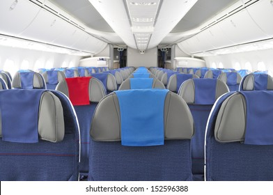 GNIEZNO, POLAND - AUGUST 4: Interior of the New Boeing 787 Dreamliner during a training flight from Bydgoszcz to Wroclaw on August 4, 2013 in Gniezno, Western Poland.